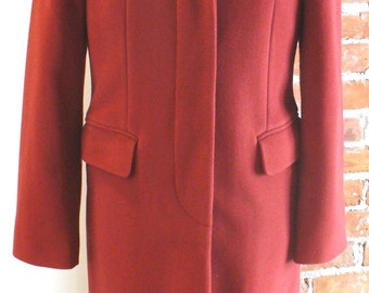Vintage Benetton Made in Italy Tomato Red Overcoat Size 40