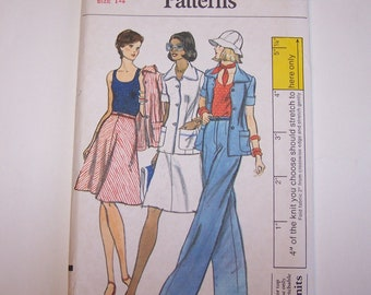 1970s VOGUE A-line Skirt, Pants,Jacket and Stretch Tank Top PATTERN 8856 UNCUT - Misses sz 14 Bust 36 - Complete with instructions!