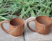 Set of 2 Nutmeg Tan Mugs with Detailed Handles, Cone 6 Glaze