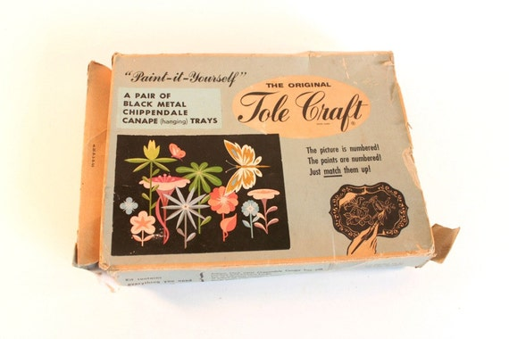 Vintage Tole Craft Chippendale trays - 'Paint-It-Yourself' - original box