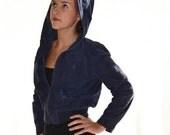 vintage 70s HOODED hippie boho blue suede LEATHER JACKET Coat m w/ tiny pockets