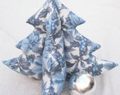 Stuffed Tabletop Tree - Blue Poinsettias Large - Winter Decoration - SALE