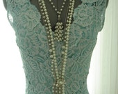 1920 Teal/Aqua Lace Flapper/Gatsby Wiggle Dress and Silk Slip with Shroud and Head Cap - TheTealDoor