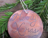 Christmas Ornament, Merry X-mas with Holly, etched copper with patina / Black Friday Etsy / Cyber Monday Etsy / 20% off