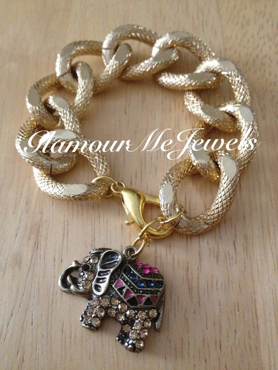 The ELLIE - Textured Gold Chain Bracelet With A Pink & Topaz Rhinestone Elephant Hanging Charm