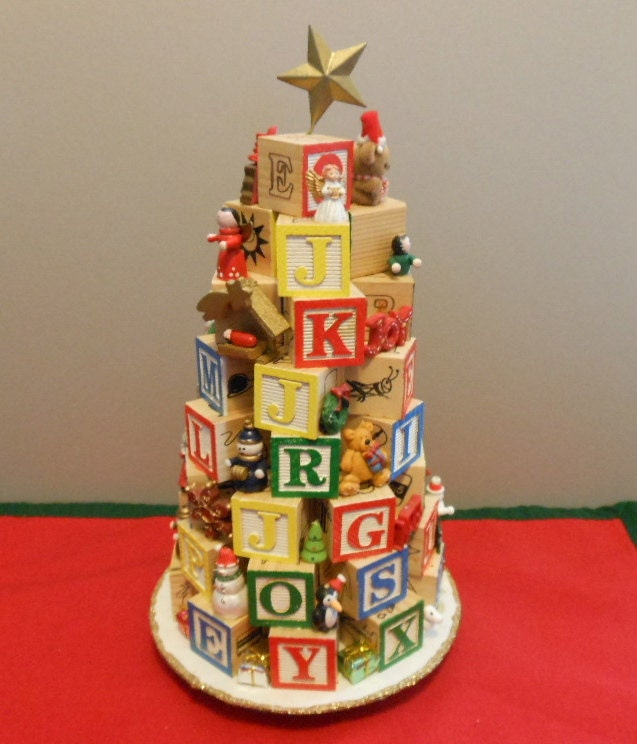 Wooden Letter Christmas Tree Decorations : Wooden alphabet block christmas tree with miniature ornaments