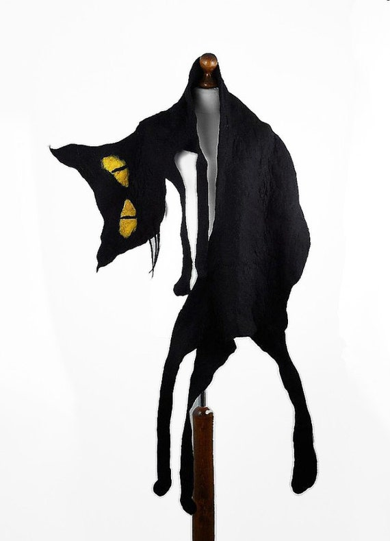 Cat Scarf Felted Scarf Surreal Gothic BLACK CAT SCARF Halloween Party Nuno felt Scarves Felt  Wrap Nuno felt wearable art Silk  Fiber Art