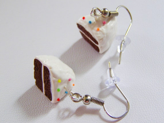 Chocolate cake earrings - food jewelry