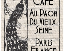 French Peacock Iron On Digital Transfer - Paris Cafe Paon Words Digital Download