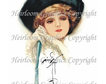 Harrison Fisher  Victorian Woman Digital Download  Vintage Harrison Fisher  Victorian Woman Tags For Scrapbooks, Gift Tags, Cards etc.