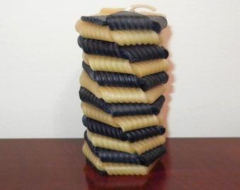 Layered Spiral Hexagonal Beeswax  Pillar Candle - Navy & Natural - 4.2 x 2.2 inches  item 4-1007