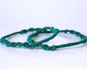 Two Green Wrapped and Knotted Bracelets