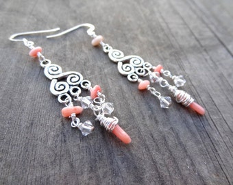 Silver Coral Pink Wire Wrapped Crystal Bead Handmade Dangle Earrings Jewelry Beads Orange