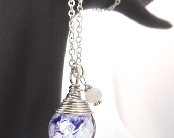 Blue Dyed Quartz Silver Wire Wrapped Pendant Necklace with Crystal Moonstone accents Jewelry