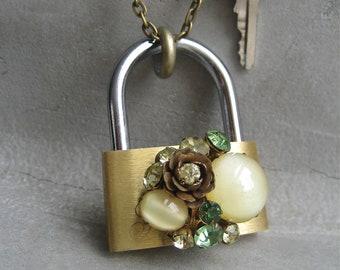 Padlock and Key Necklace - Hardware Jewelry - Lock And Key Necklace - Key Necklace - Vintage Green Earring Adornment - Rhinestone Necklace