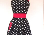 Retro Black and White Polka Dot Apron with Red Pin Dot