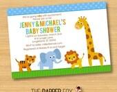 Jungle Baby Shower Invitation - Boy Girl Unisex - Printable - Safari Animals Elephant Giraffe Lion