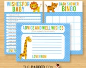Jungle Baby Shower games - INSTANT DOWNLOAD Printable - Wishes for Baby, Advice Cards, Bingo - Safari animals