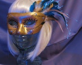 One of a Kind, Glowing, Hand Painted, Gold, Fiber Optic, Cleopatra, Feather Masquerade Mask