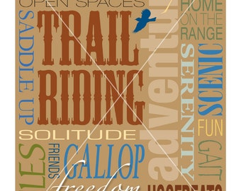 Trail Riding Horse Typography Word Art Design Printable 8 x 10 Wall Poster Type Sign - DIY Print & Frame Keep Calm