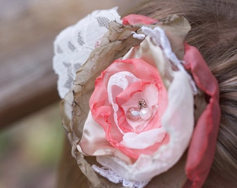 wedding flower hair clip shabby chic coral ivory moss vintage lace photo prop bridesmaid hair clip fabric flower flower girl boho hairpiece