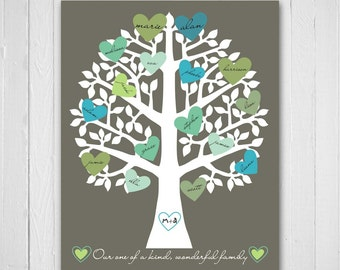 Family Tree Print, Retro Heart Typography, Personalized Family Gift, 8x10, Blue Green, Christmas Gift for parents grandparents, Personalised