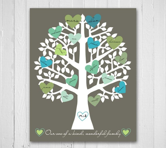 Wedding Tree Genealogy Chart By Melangeriedesign On Etsy: Family Tree Print Retro Heart Typography Personalized Family