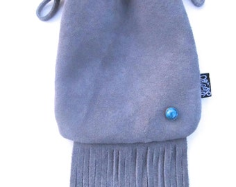 Suede Fringe Neck Pouch, Medicine Bag, Hip Bag, with Turquoise Stud