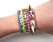 Neon cuff bracelet - vintage rhinestone cuff with spikes, leopard, and neon