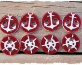 Sailor Buttons, 3/8 of an inch, 2 different designs, 8 buttons total
