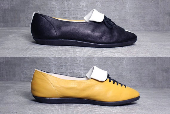 Vtgs 80s 90s Color Block Lace up Leather Flats Loafers Shoes 8