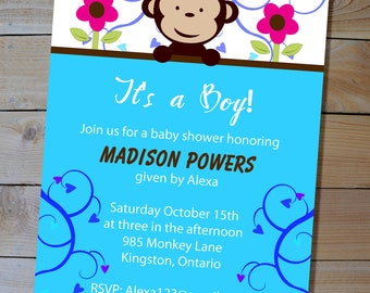 "Monkey Baby Shower Invitation - ""It's a Boy"" Blue Mod Monkey Printable Baby Shower Invitation"