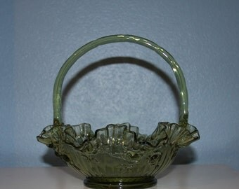 Fenton Colonial Green Rose Glass Basket - Handled - Double Crimped - Vintage 45 Years old