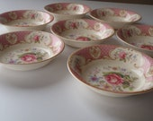 Reserved for Judith 4 Dessert Bowls / Shabby Pink Rose by Myott Staffordshire England/ Vintage Dishes by Feisty Farmers Wife