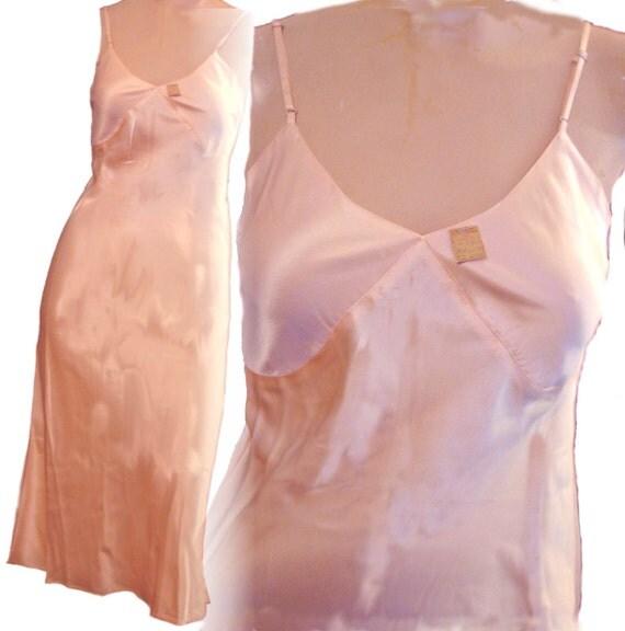 Tearose pink silk satin sz 32 xs s gatsby bias cut nwt gown slip dress