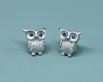Ready to ship, Blue Sapphire eyed baby Owl stud Earrings in sterling Silver, Fine jewelry gift for Her