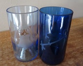 Owl and Key Recycled Wine Bottle Glasses in Blue made for Kappa Kappa Gamma Sorority Sister Set of 2