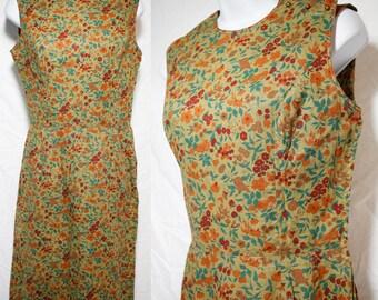 Vintage 50's JOAN MILLER for GLEN 50's Floral & Fruit Pattern Sleeveless Dress S