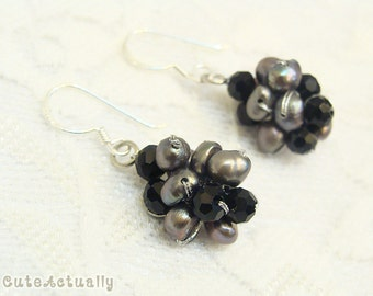 Black freshwater pearl earrings with crystal on silk thread, black pearl earring