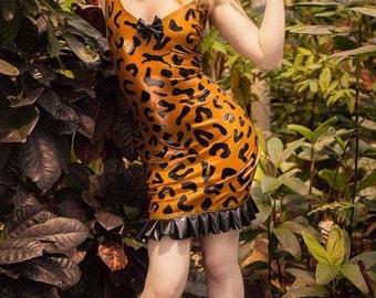 Latex Halterneck Leopard Animal Print Mini Dress