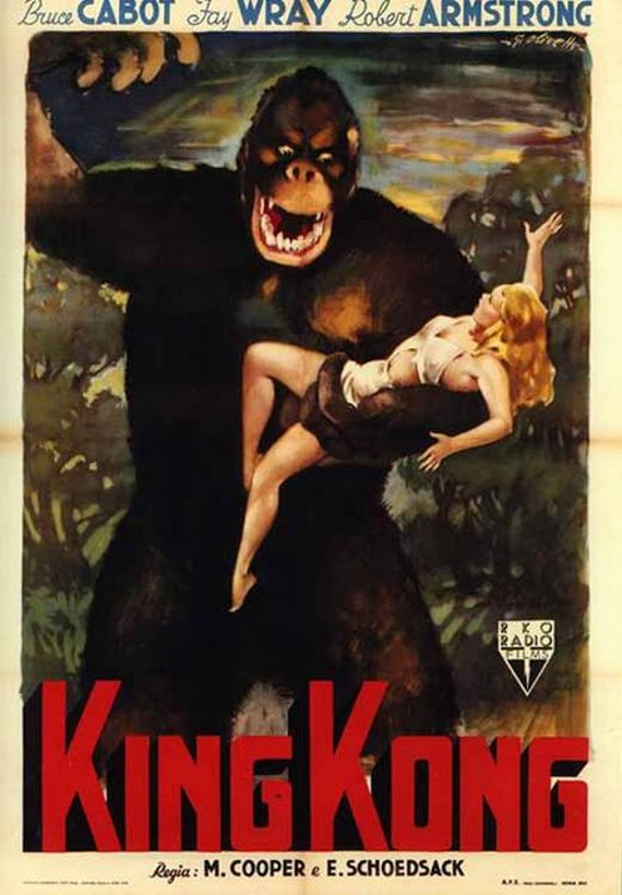 1933 King Kong Movie Poster Fridge Magnet with Fay by Vividiom