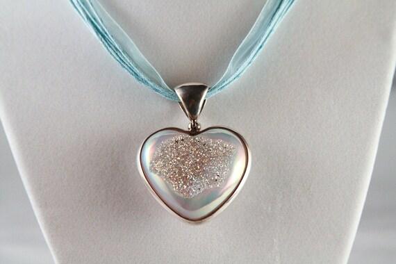 Incredible baby blue Drusy quartz heart pendant ribbon necklace
