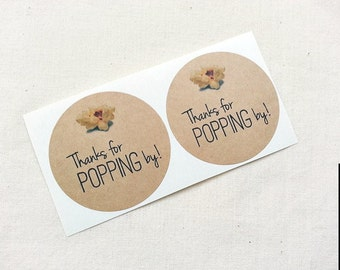 40 Popcorn Favor Labels. Thanks for Popping By. Mason Jar Labels