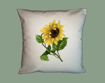 Vintage Sunflower HANDMADE 16x16 Pillow Cover - Choice of Fabric