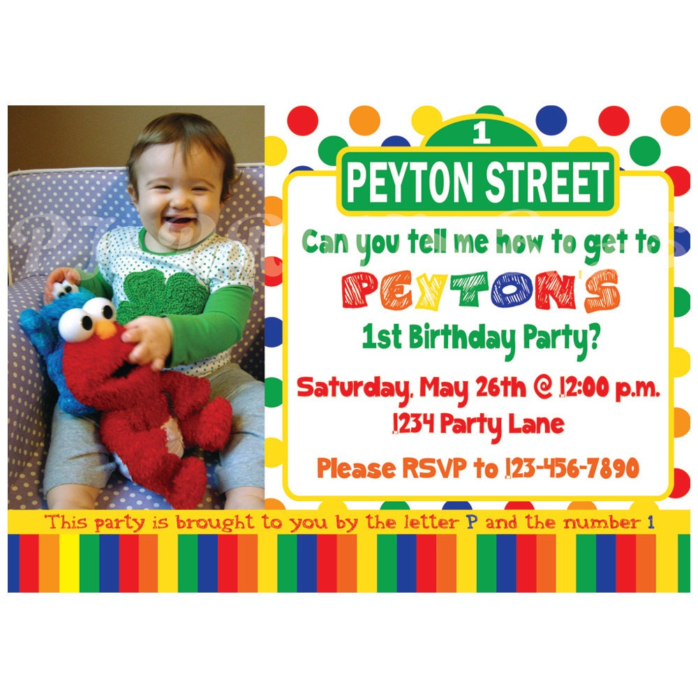 Sesame Street Birthday Invitation Primary Colors Custom