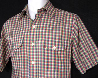 Vintage Courage From Eagle Shirtmakers Gingham Check Fitted Shirt Sz.M 1970's