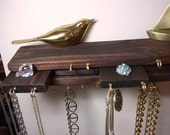 Jewelry Organizer Hanger Stacked Wood Rustic Red Mahogany Stain
