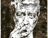 David Lynch - Special Edition - Coffee Stained - Woodblock Print - Large Poster