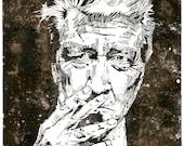 David Lynch - Sonderausgabe - Kaffee gefärbt - Holzschnitt Print - großes Poster