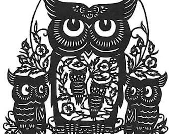 Five Owl Silhouette Handmade PDF Cross-Stitch Pattern